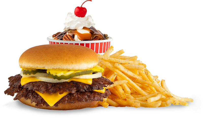 Burger, Fries, and frozen custard