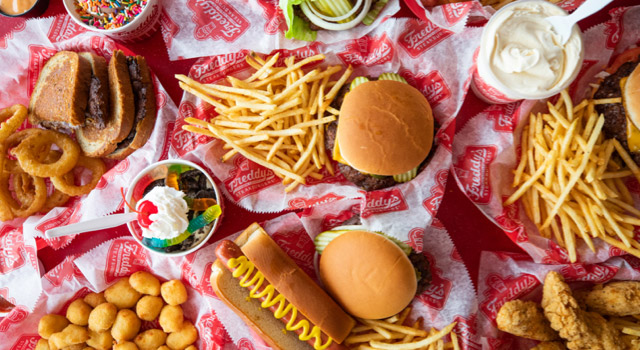 Assortment of Freddy's food and desserts